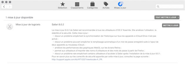 Safari 8.0.2 disponible sur Yosemite La version 8.0.2 de Safari est disponible sur Yosemite