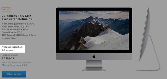 delai de livraison iMac Retina 5k Apple améliore ses délais de livraison à lapproche des fêtes