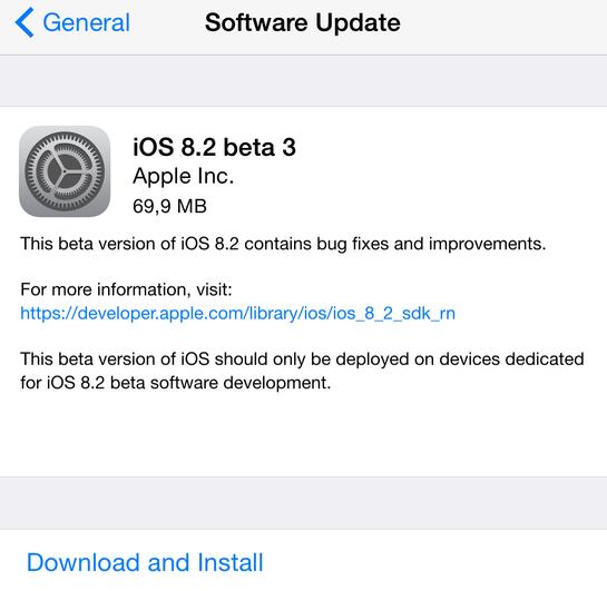 ios 8.2 beta 3 iOS 8.2 bêta 3 disponible pour les développeurs