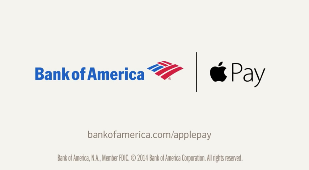 Apple Pay Bank of america Nouvelle publicité de la Bank of America pour Apple Pay