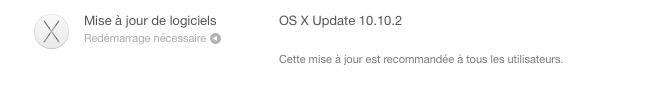 Mise a jour OS X 10.10.2 Nouvelle mise à jour dOS X 10.10.2 pour les développeurs