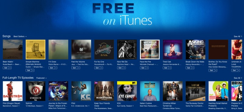 Nouvelle section Free on iTunes Nouvelle section  Free on iTunes pour la musique et la TV