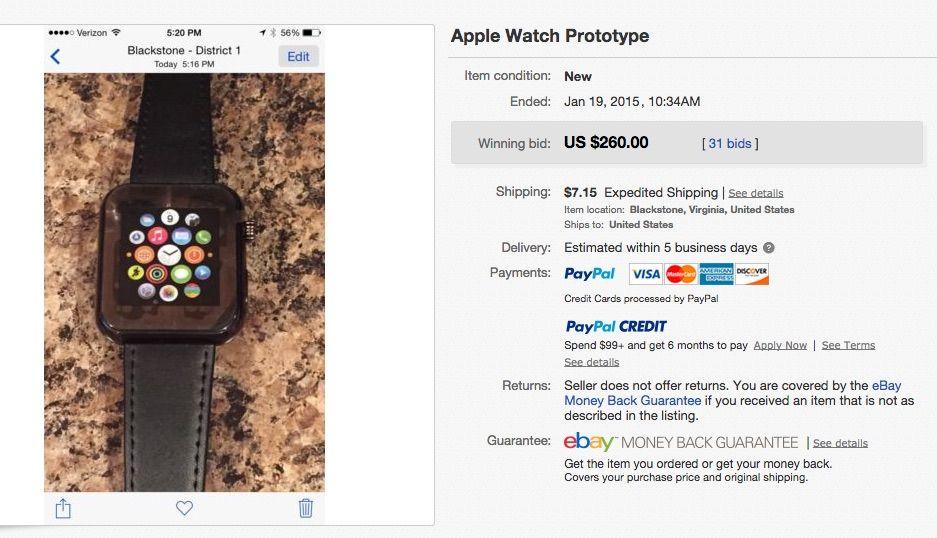 fake apple watch ebay listing Une fausse Apple Watch vendue sur eBay pour 260$