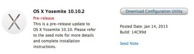 nouvelle beta pour OS X 10.10.2 Apple a publié une nouvelle beta pour OS X 10.10.2