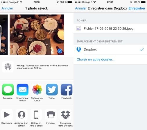 Dropbox extension iOS 8 Une extension iOS 8 désormais disponible pour Dropbox