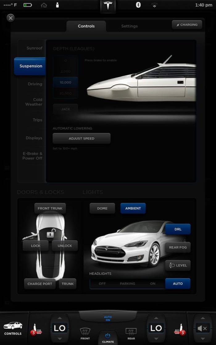 Telsa Model S James Bond mode 002 La Tesla Modèle S possède un mode James Bond caché