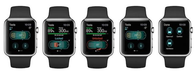 Une application Apple Watch pour les voitures Tesla 02 Une application Apple Watch pour les voitures Tesla