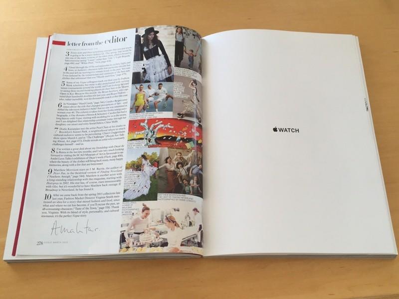 Vogue March 2015 Apple Watch ad 001 LApple Watch fait une nouvelle fois sa pub dans Vogue