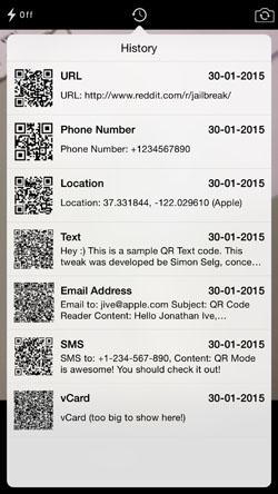 history 1 [Cydia] QR Mode, scannez les QR codes depuis lapplication native Appareil Photo