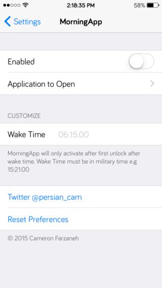 54f1f6cc583dc 320x568 [Cydia] MorningApp vous ouvre une application à votre réveil
