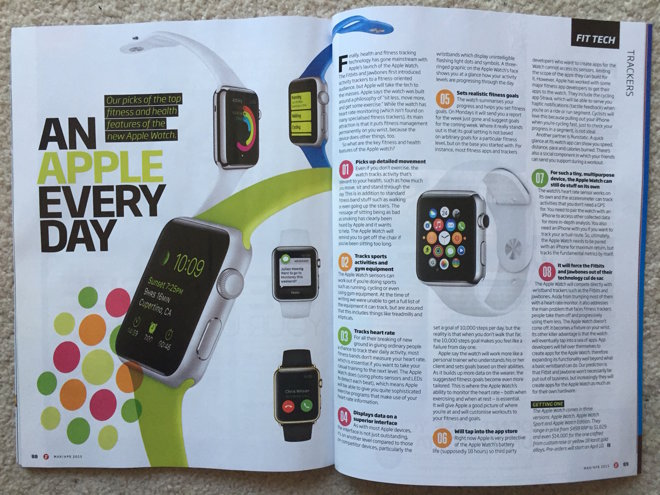 Apple Watch fitness first LApple Watch continue sa promotion dans les magazines