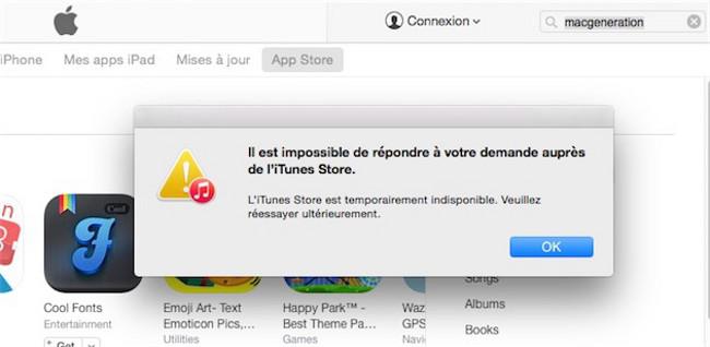 iTunes hors service MAJ: Plusieurs services Apple indisponibles en ce moment