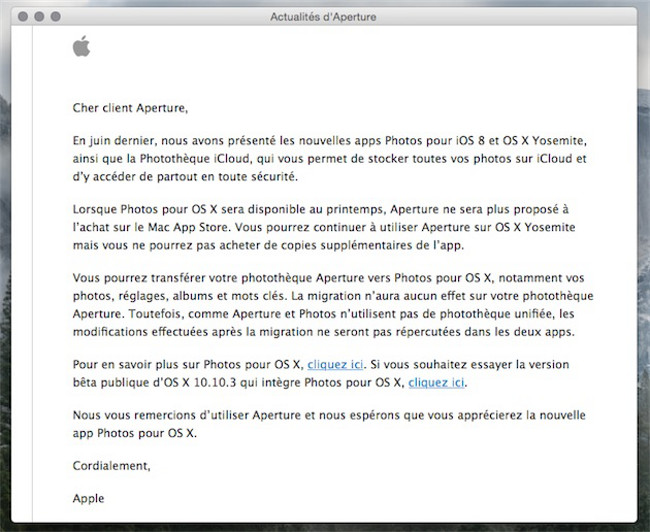 message apple Aperture Apple prévient quAperture va laisser place à Photos