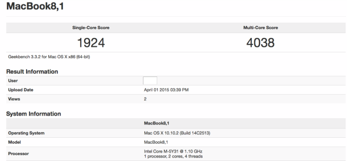 MacBook Retina 12 pouces Geekbench 002 Le nouveau MacBook est aussi performant que le MacBook Air de 2011