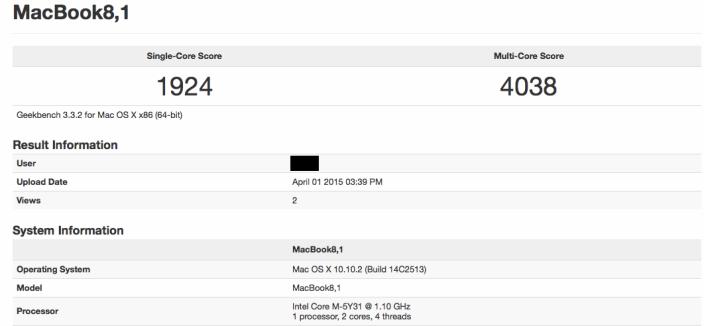 MacBook Retina 12 pouces Geekbench 002 Le nouveau MacBook est aussi performant que le MacBook Air de 2011