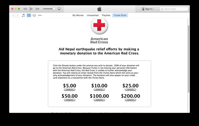 itunes red cross 1024x650 Népal : Apple accepte les dons en faveur des victimes
