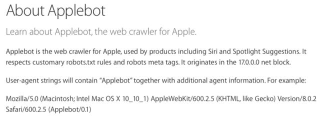 applebot Apple officialise son moteur de recherche : Applebot