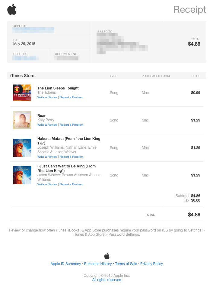 applereceipt Apple a revu le design de ses factures envoyées par mail !