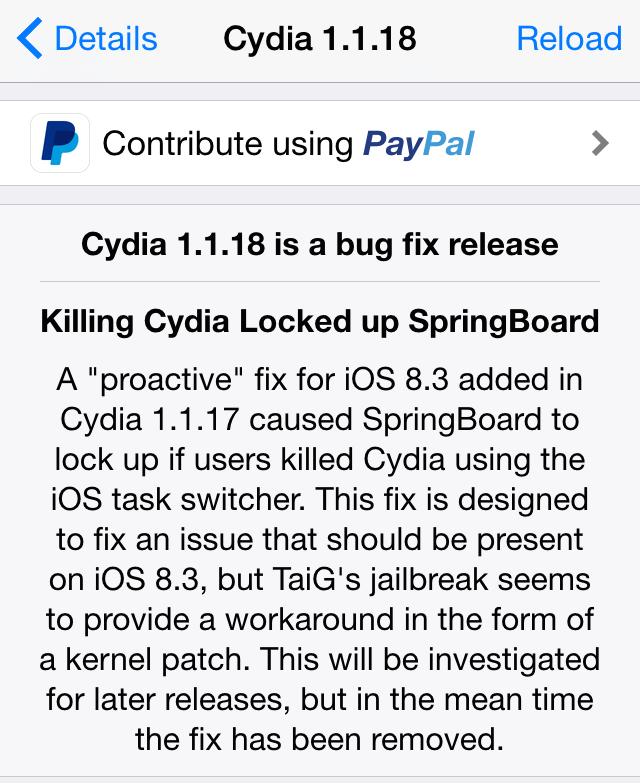 Cydia 1.1.18  [Jailbreak] Cydia en version 1.1.18, enfin compatible iOS 8.3