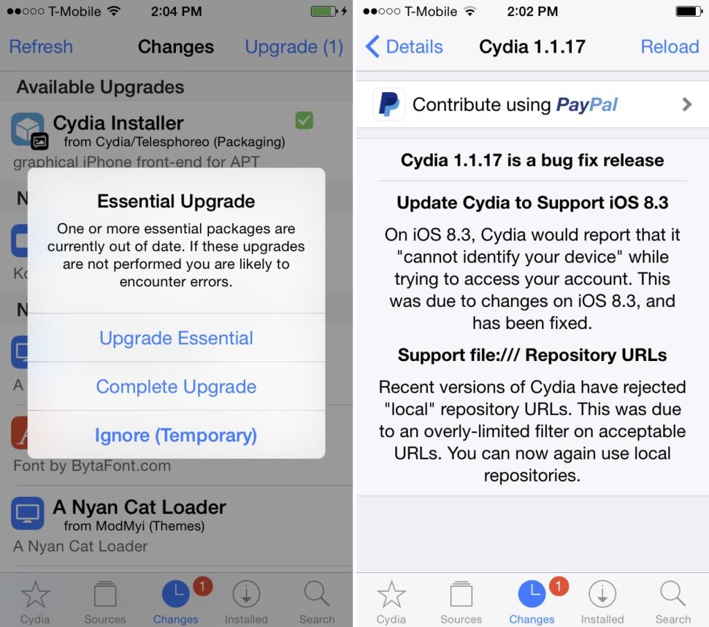 Cydia Installer 1.1.17 1024x905 [Jailbreak] Cydia en version 1.1.18, enfin compatible iOS 8.3