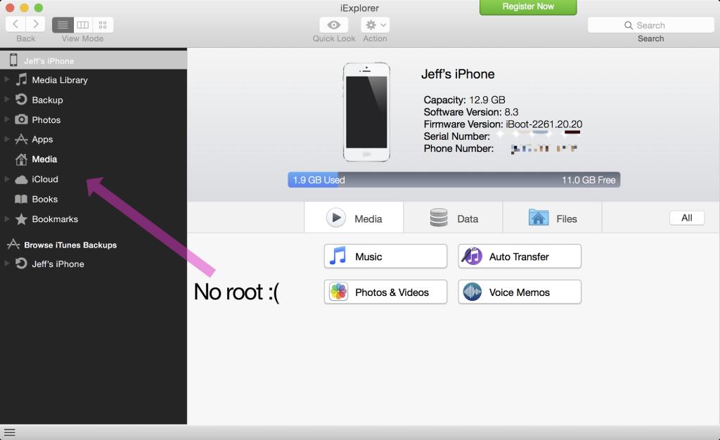 No root afc2 iOS 8.3 1024x626 [Astuce] Comment installer AFC2 sur un appareil sous iOS 8.3 jailbreaké ?