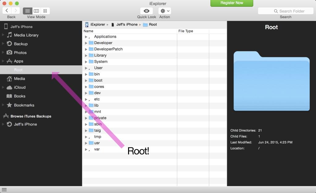 Root access afc2 iOS 8.3 jailbreak 1024x626 [Astuce] Comment installer AFC2 sur un appareil sous iOS 8.3 jailbreaké ?