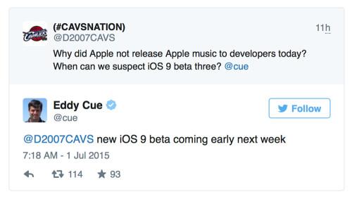 Twitter Eddy Cue 500x283 iOS 9 bêta 3 pour la semaine prochaine avec Apple Music