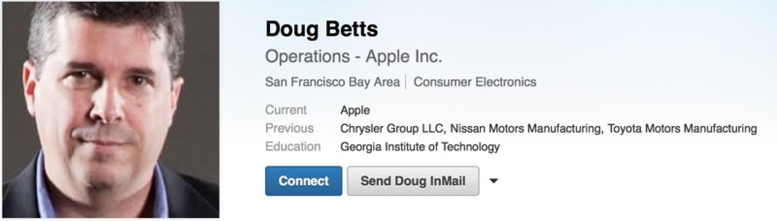 doug betts linkedin Apple Car : un haut gradé du groupe FCA rejoint le projet Titan