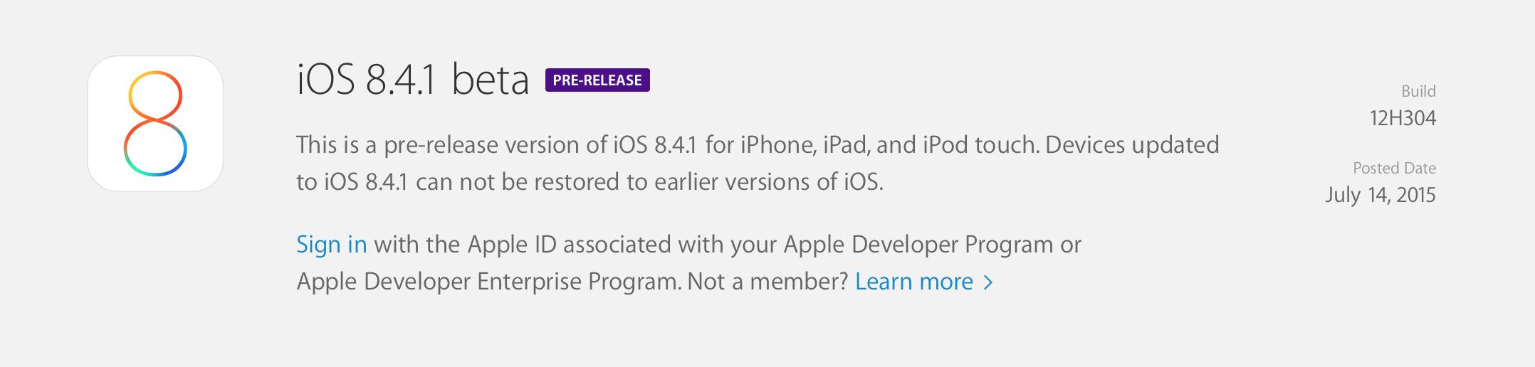screen shot 2015 07 14 at 1 05 36 pm iOS 8.4.1 : la première bêta est disponible !
