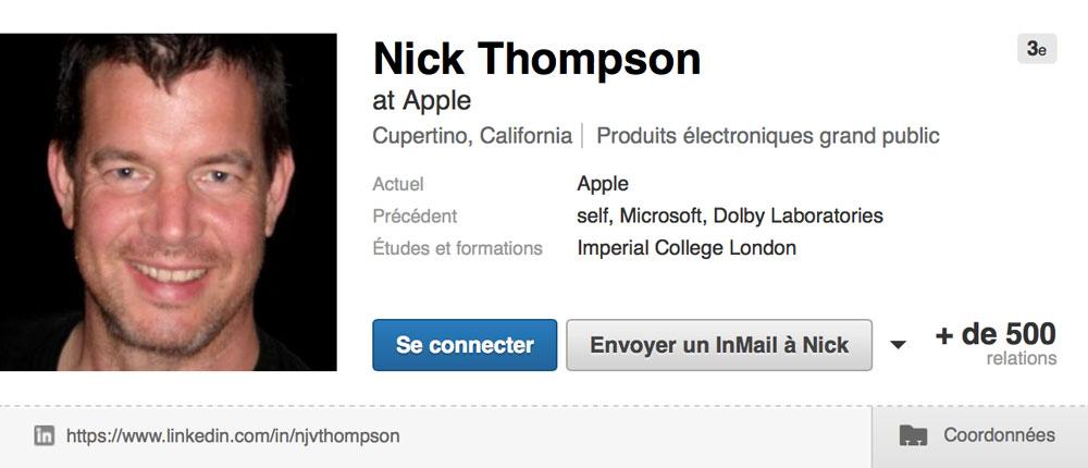 Nick Thompson Apple embauche un ingénieur Microsoft du projet HoloLens