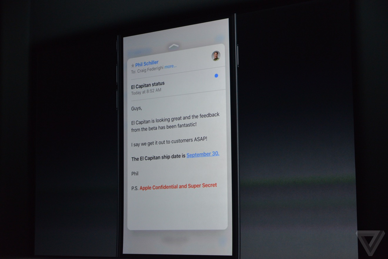 3D touch mail Bilan keynote : iPhone 6s, Apple TV 4, iPad Pro, watchOS 2