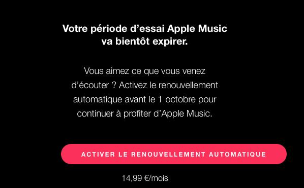 apple music notification Apple Music : cest lheure de payer