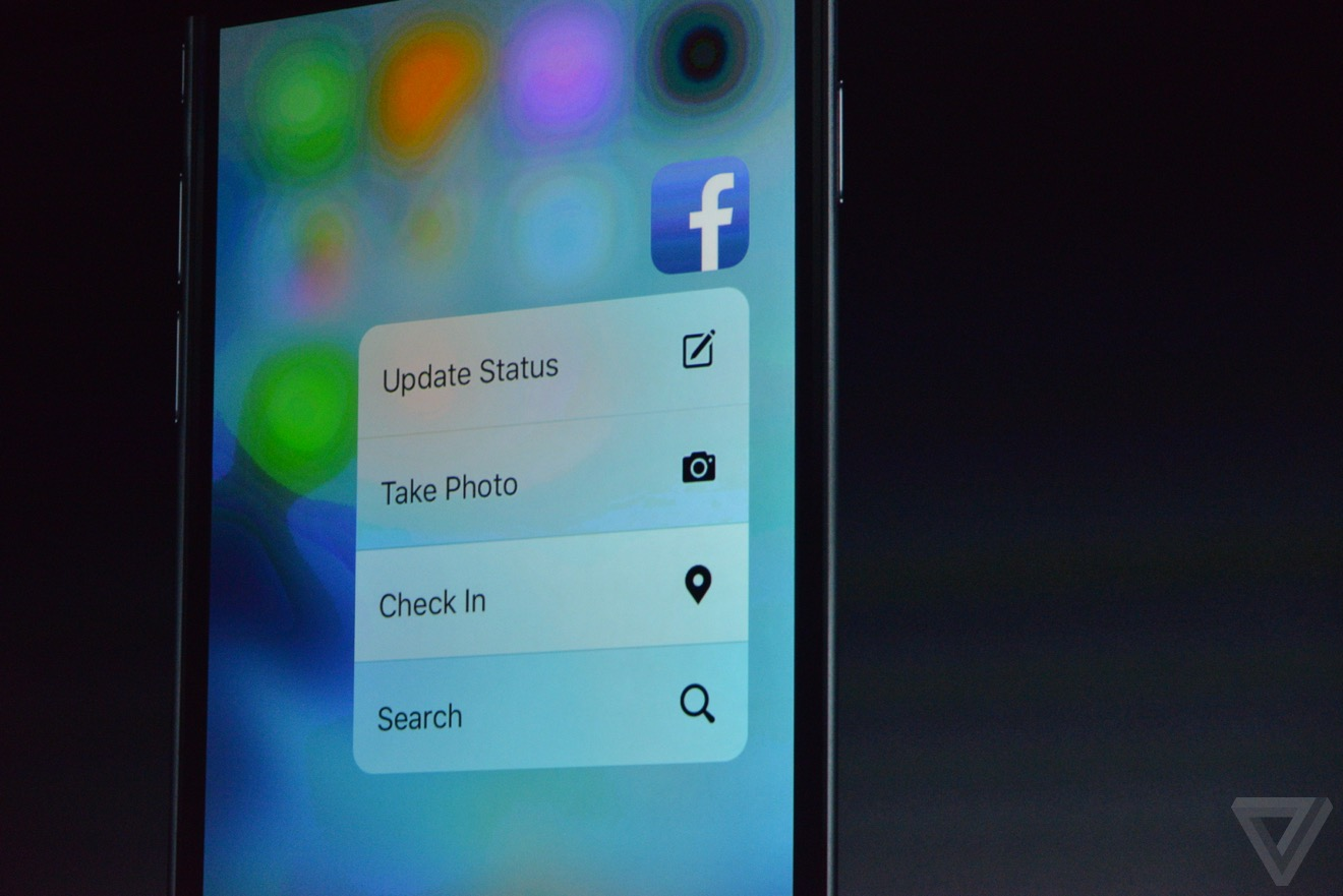 facebook 3D touch Bilan keynote : iPhone 6s, Apple TV 4, iPad Pro, watchOS 2