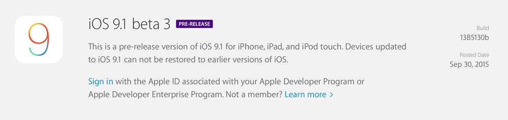 iOS 9 1 beta 3 dev iOS 9.1 bêta 3 est disponible pour les développeurs