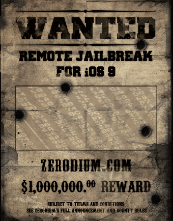 ios 1 million de dollars de récompense pour le jailbreak untethered diOS 9