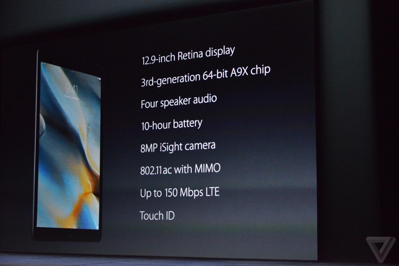 ipad pro caracteristiques Bilan keynote : iPhone 6s, Apple TV 4, iPad Pro, watchOS 2