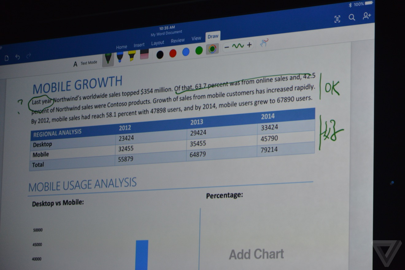 office ipad pro Bilan keynote : iPhone 6s, Apple TV 4, iPad Pro, watchOS 2