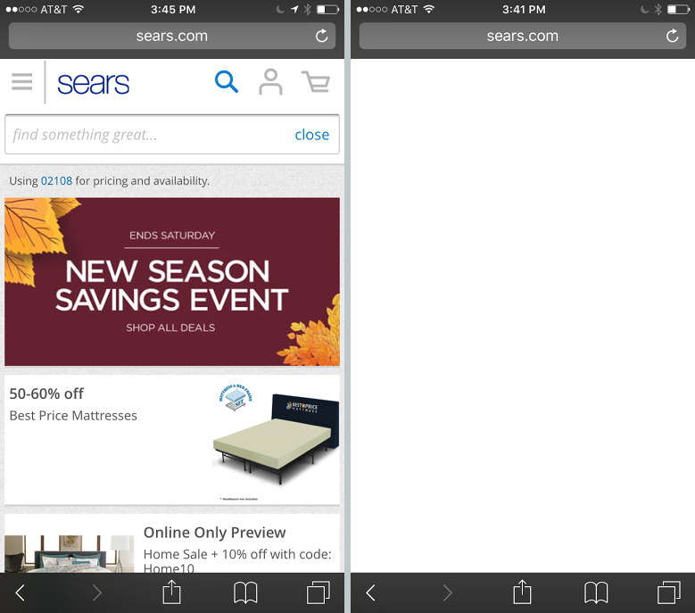 sears Les ad blockers diOS 9 peuvent limiter votre shopping en ligne
