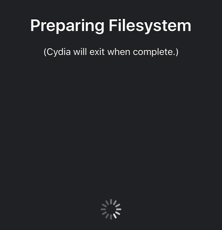Cydia Installer Preparing Filesystem Cydia Installer se met à jour en version 1.1.26