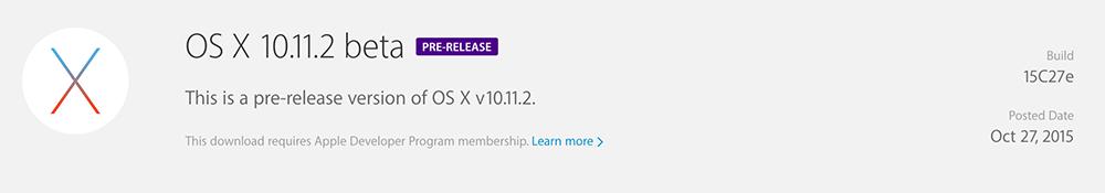 OSX 11.1.2 La bêta dOS X 10.11.2 est disponible pour les développeurs