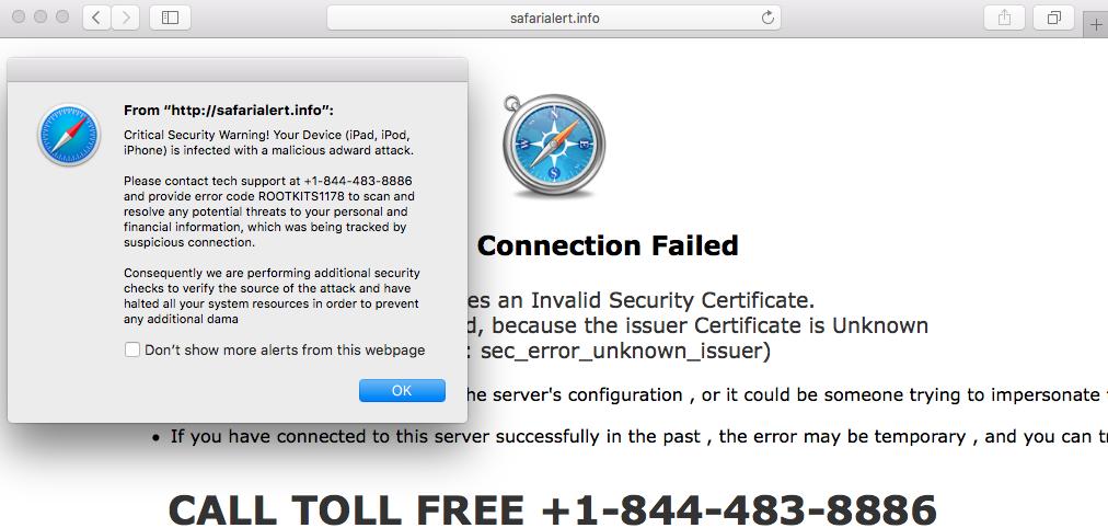 Safari alert Une arnaque web propre à Windows sexporte sur Mac