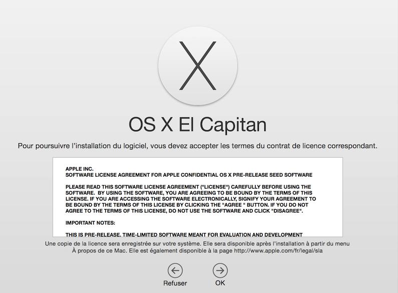 elcapitan contrat licence Les surprises cachées de la licence d'utilisation dOS X El Capitan