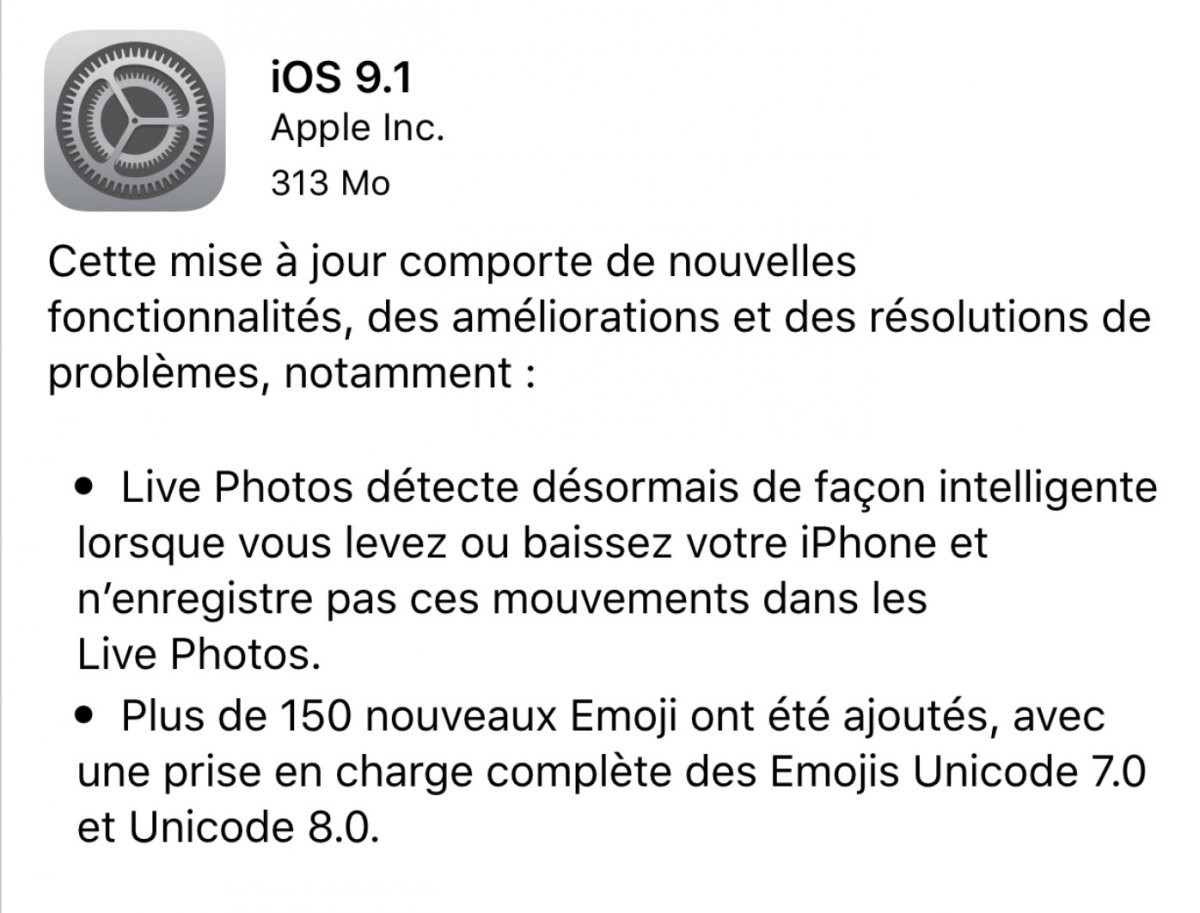 iOS 9.1 iOS 9.1 : la mise à jour est officielle, disponible au téléchargement et bientôt jailbreakée par TaiG