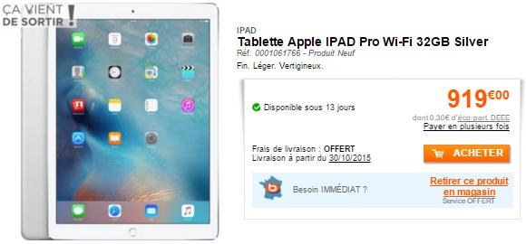 iPad Pro wi fi 128 Go argent LiPad Pro est disponible en précommande en France et les prix sont connus !