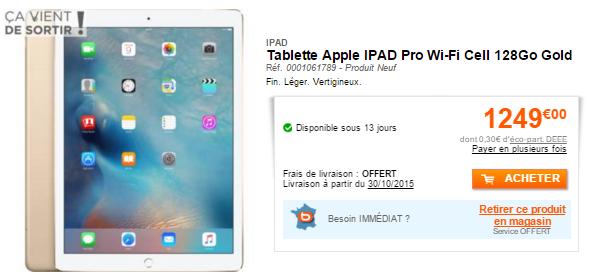 iPad Pro wi fi 128 Go gold LiPad Pro est disponible en précommande en France et les prix sont connus !