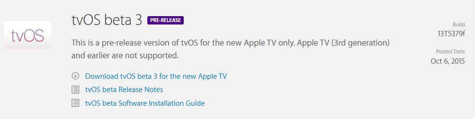 tvOS tvOS & Xcode 7.1 : de nouvelles bêtas disponibles pour les développeurs