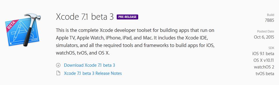 xcode tvOS & Xcode 7.1 : de nouvelles bêtas disponibles pour les développeurs