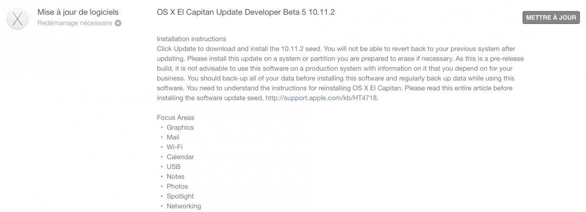 OS X 10.11.2 bêta 5 OS X 10.11.2 bêta 5 est de sortie ce soir !