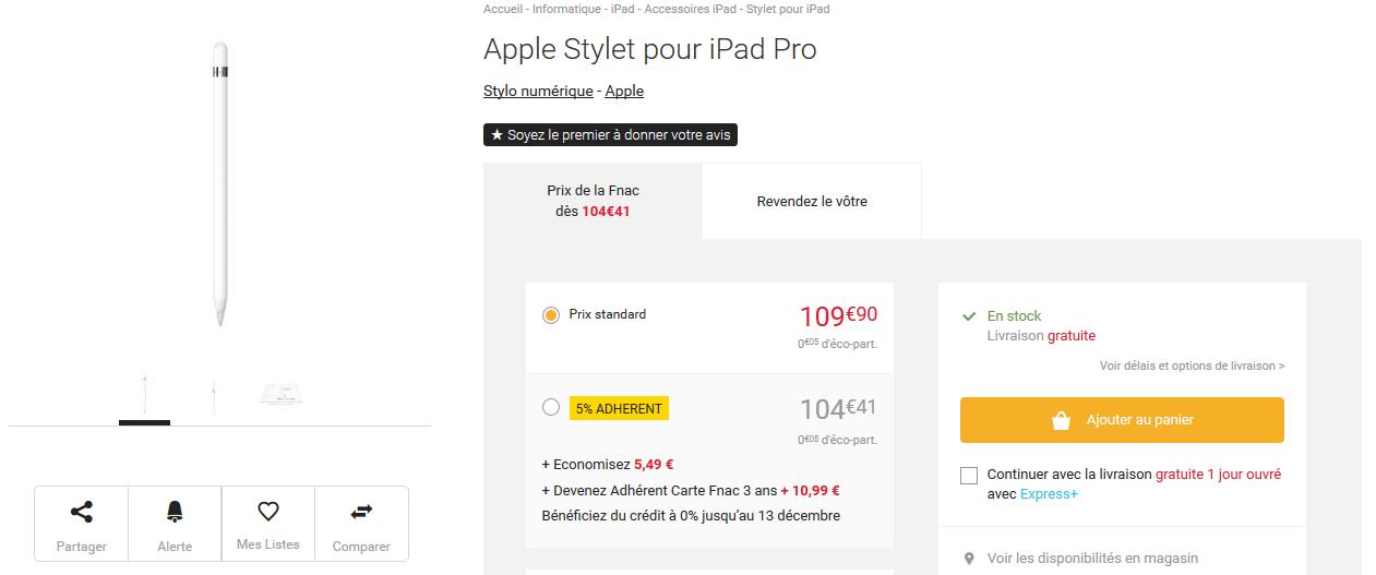 apple pencil1 Apple Pencil : quelques stocks sont disponibles chez Fnac !