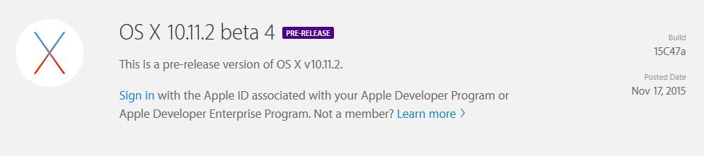 os x beta 4 10.11.2 OS X 10.11.2 bêta 4 est officiel pour les développeurs !